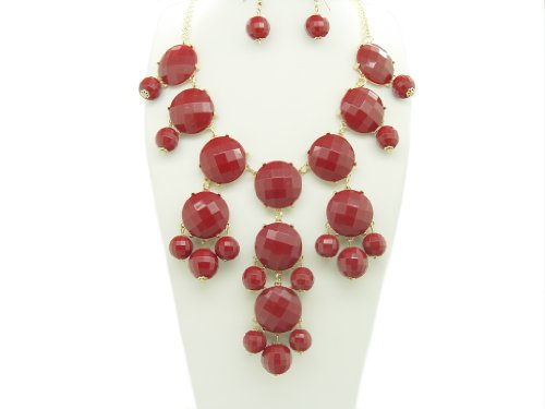 Bubble BIB Necklace Set Stone Cut - DARK RED COLOR
