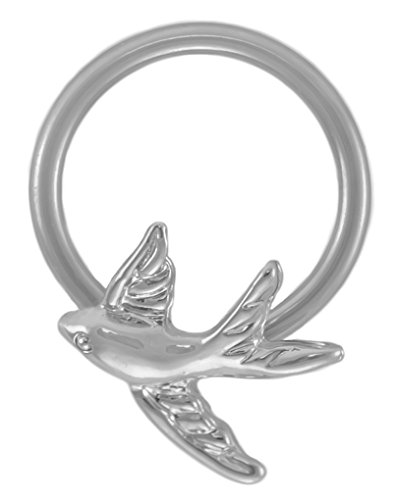 A-Sparrow Captive Ring 20g Earring-Steel CBR 20g 3/8 inch CBR-Swallow Cartilage Earring-Bird Nipple Ring