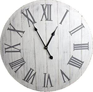 39 Antique 39 White Wooden Wall Clock With Metal Roman