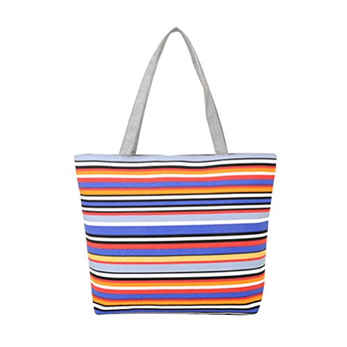 Shopready Summer New Women's Classy Look cool Simple Style Casual Canvas Bag Canvas Grocery Tote Bag Natural Canvas Tote Beach Bag Cotton Shoulder Handbag Stripes Pattern Canvas Shoulder Bags