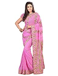 Designer Appreciable Pink Colored Embroidered Faux Georgette Saree By Triveni