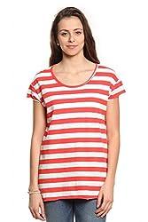Women Coral & White Striped T-Shirt