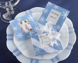 Snowfall Exquisite Glass Photo Coasters Wedding Favors (50 ct)