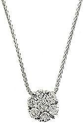 0.75 Ct White Gold Flower Design Diamond Necklace Pendant 14 Kt