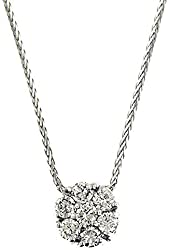0.75 Ct White Gold Flower Design Diamond Necklace Pendant 14 Kt