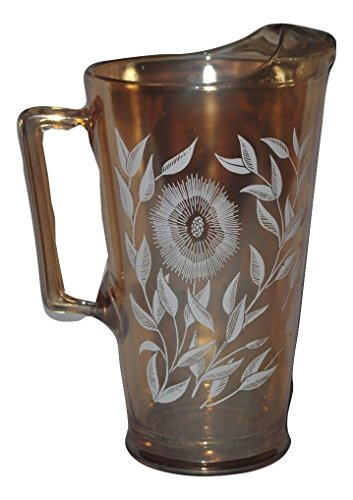 Jeanette Glass Marigold Pitcher with Cosmos Pattern 2 quarts Beautiful Vintage Carnival Glass