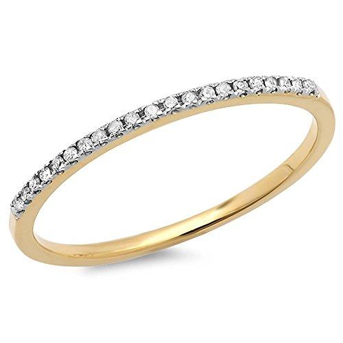 0.08 Carat (ctw) 10k Yellow Gold Round White Diamond Ladies Dainty Anniversary Wedding Band Stackable Ring (Size 7.5) (Anniversary Rings Yellow Gold compare prices)