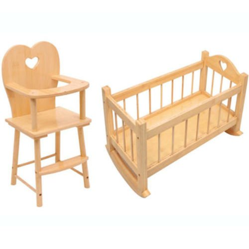 Dolls Wooden Rocking Cradle Cot Bed Feeding High Chair Toy