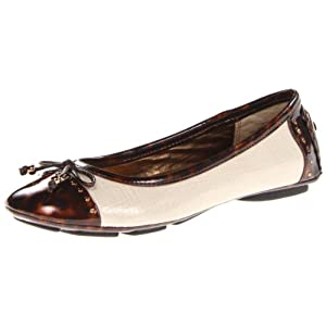AK Anne Klein Sport Women's Buttons Synthetic Ballet Flat,Natural/Bronze,9.5 M US