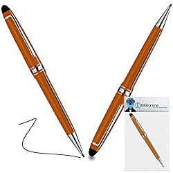 iTALKonline Leagoo Alfa 4 Orange PRO Captive Touch Tip Stylus Pen with Rubber Tip with Roller Ball Pen