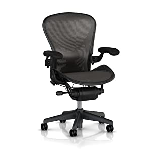 Aeron Chair by Herman Miller - Highly Adjustable Graphite Frame - with PostureFit - Carbon Classic (Large)