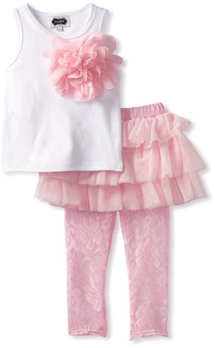 Mud Pie Little Girls' Rosette Skirt And Tank Set, Pink, 2T (Mud Pie White Lace Leggings compare prices)