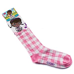 Disney Doc McStuffins Girls Knee High Socks Size 6-8 Pink Plaid Design Style