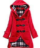 CHAREX Womens Woolen Hooded Horn Button Trench Coat
