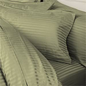 Italian 1500 Thread Count 100% Egyptian 4PC Queen Sheet Set, Striped Sage Green
