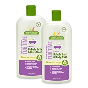 BabyGanics Tub Time Gentle Bubble Bath and Body Wash, Natural Lavender, 20 fl. oz.  (Pack of 2), Packaging May Vary