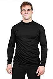 Utopia Wear Men\'s Cotton Blend Interlock Mock Turtleneck (XX-Large, Black)