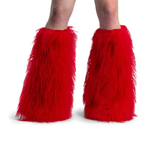 Women's Boot COVERS Sexy Faux Fur Boot SLEEVE Theatre Costumes Accessory Red