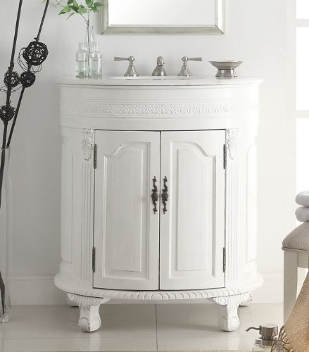 Antique White Vanity Table front-955913