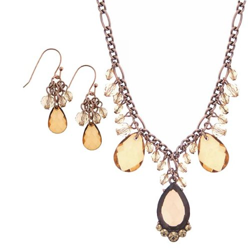 Amber Thoughts Teardrops Necklace Earrings Box Set