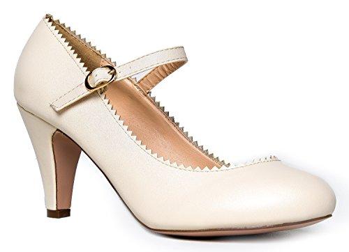 Mary Jane Pumps - Low Kitten Heels - Vintage Retro Design - Unique Scallop Detail Round Toe Shoe Design With An Adjustable Strap - Honey By J. Adams,Nude PU,7 B(M) US