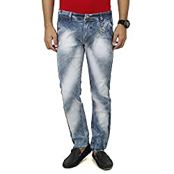 Ripped Torn Distressed Jeans for Men Acid Cloud Wash Tie Dye Light Blue SAVON 32