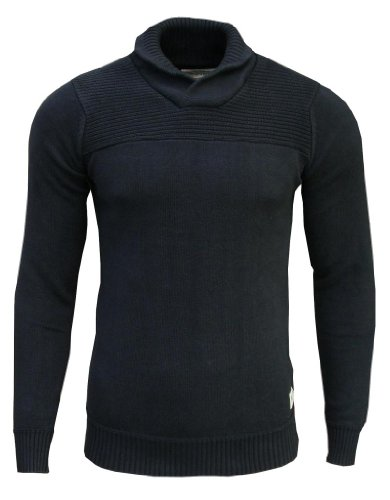 Jack & Jones Men's Shawl Neck Jumper black navy / burgundy elbow patches Large