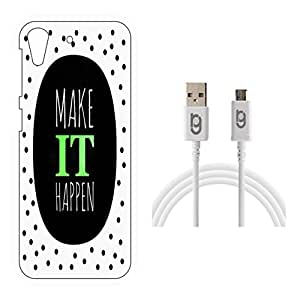 Designer Hard Back Case for HTC Desire 626 with 1.5m Micro USB Cable