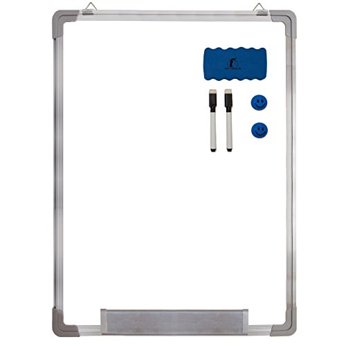 "Whiteboard Set - Dry Erase Board 24 x 18 "" + 1 Magnetic Dry Eraser, 2 Dry-erase Black Marker Pens And 2 Magnets - Small White Hanging Message Scoreboard For Home Office School (24x18"" Portrait)"
