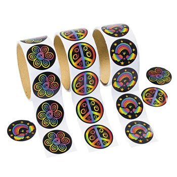 300 Cool RAINBOW PEACE Flower Stickers - 3 ROLLS 100 per Roll/60'S PARTY/Hippie/RETRO/TEACHER Classroom Rewards
