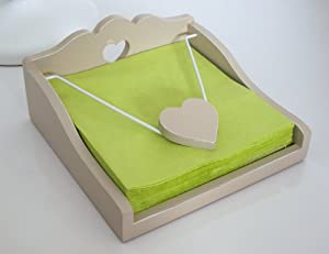 Napkin Holder - Chic & Shabby Distressed Style Wooden Light Pastel Green Decorative Heart Napkin Holder - Wooden Heart Napkin Dispenser / Holder