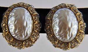 Pearl Rhinestone Paste Clip-on Earrings