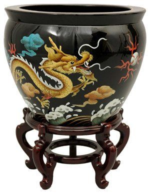 "Classic Asian Style Decor - 16"" Chinese Lacquered Porcelain Jardiniere Fish Bowl Planter Pot Urn - Dragon"