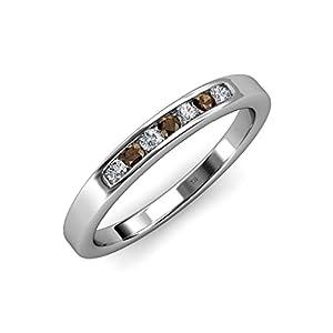 Smoky Quartz and Diamond (SI2-I1, G-H) 7 Stone Wedding Band 0.35 ct tw in 14K White Gold.size 9