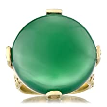 buy Briar'S Goldtone Opaque Green Cz Cocktail Ring