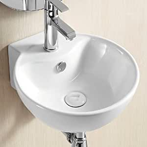 Abril Wall or Countertop Bathroom Basin 40cm Round Sink: Amazon.co.uk ...