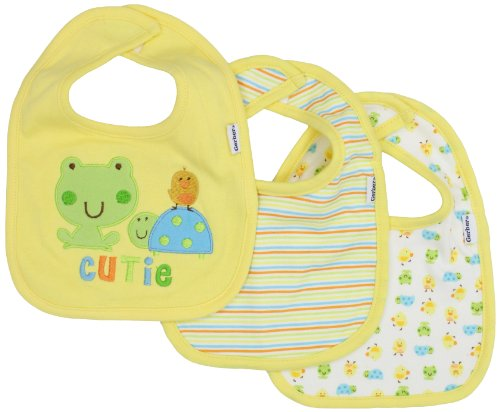 Gerber Unisex-Baby Newborn 3 Pack Interlock Dribbler Bib Frog, Yellow/Green, One Size - 1