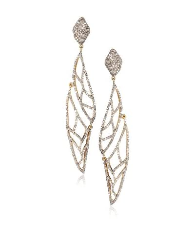 Rivka Friedman Signature Collection 14K Bonded Sterling Silver Diamond Ornate Marquise Dangle Earrin...