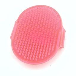 Uxcell Rubber Pet Bath Massage Glove Hair Brush Comb, Clear/Pink