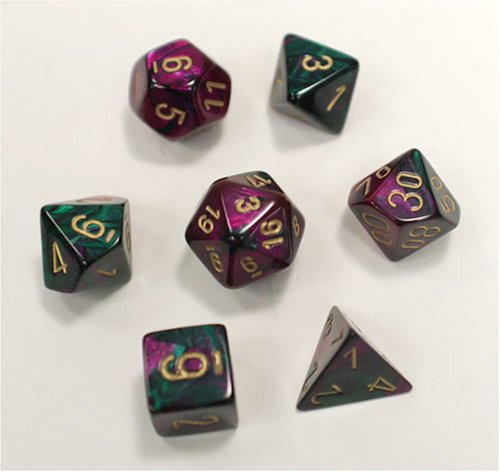 Polyhedral 7-Die Gemini Chessex Dice Set - Green-Purple With Gold