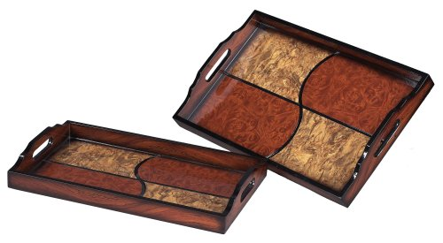 Sterling 118-004 Quartered Trays, Brown/Red, Set of 2