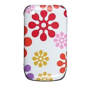 Flower Printed Colored Plastic Back Case for Blackberry Curve 8520