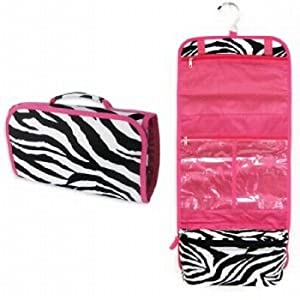 Zebra Hot Pink Makeup Cosmetic Bag Case Large