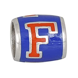 Teagan Collection University of Florida Gators Orange F on Blue Bead