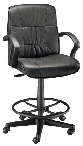 Alvin Ch777-90Dh Art Director Executive Leather Drafting Chair - Black