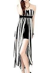 Allegra K Women's Sleeveless Solid Color Sheer Maxi Tube Dress