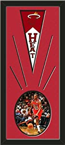 Miami Heat Wool Felt Mini Pennant & Mario Chalmers Action Photo - Framed With... by Art and More, Davenport, IA