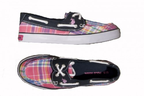 Womens U.S. Polo Association Pink and Blue Plaid Boat Shoes, Size 10