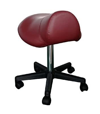 Sivan Health and Fitness Pneumatic Rolling Saddle Massage Stool, Hydraulic Adjustable, Burgundy