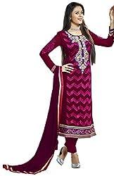 Jiya Presents Straight Dress Material(Wine,Rani)
